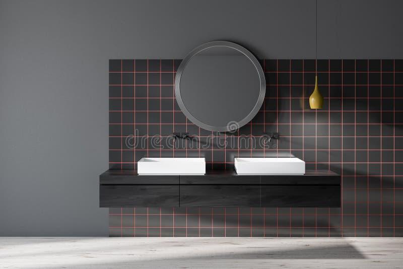 Schwarzes mit Ziegeln gedecktes Badezimmer mit doppelter Wanne vektor abbildung