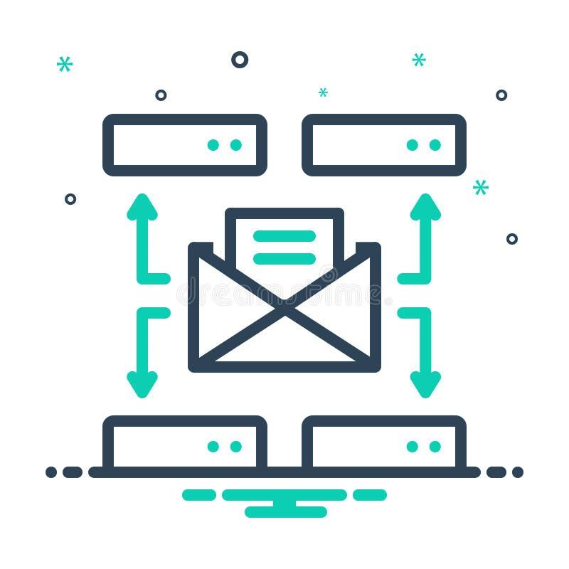 Schwarzes Mix-Symbol für Mailserver, Konnektivität und Technologie stock abbildung