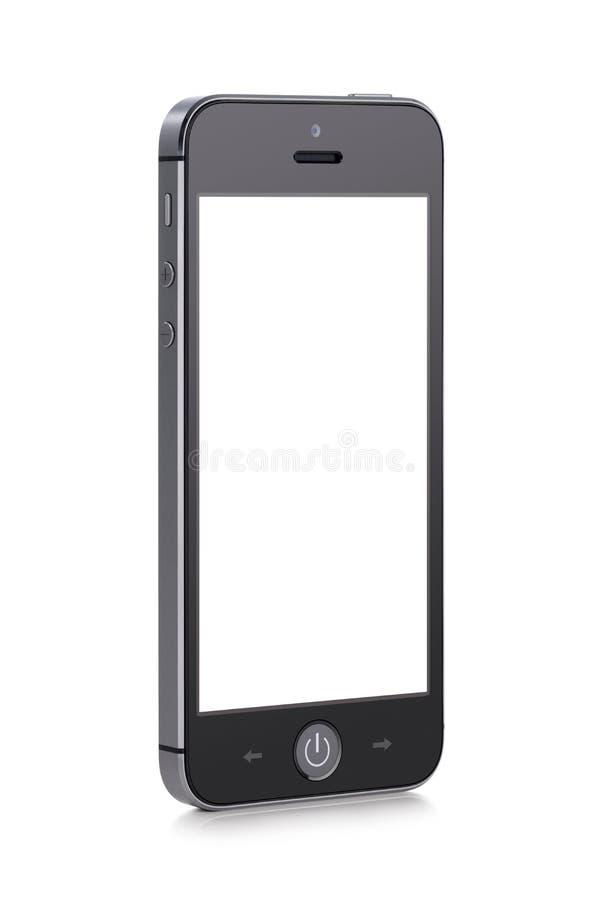 Schwarzes modernes intelligentes Mobiltelefon mit leerem Bildschirm stockfotos
