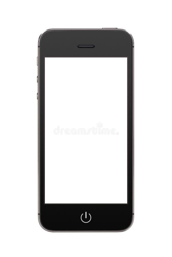 Schwarzes modernes intelligentes Mobiltelefon mit leerem Bildschirm lizenzfreie stockbilder
