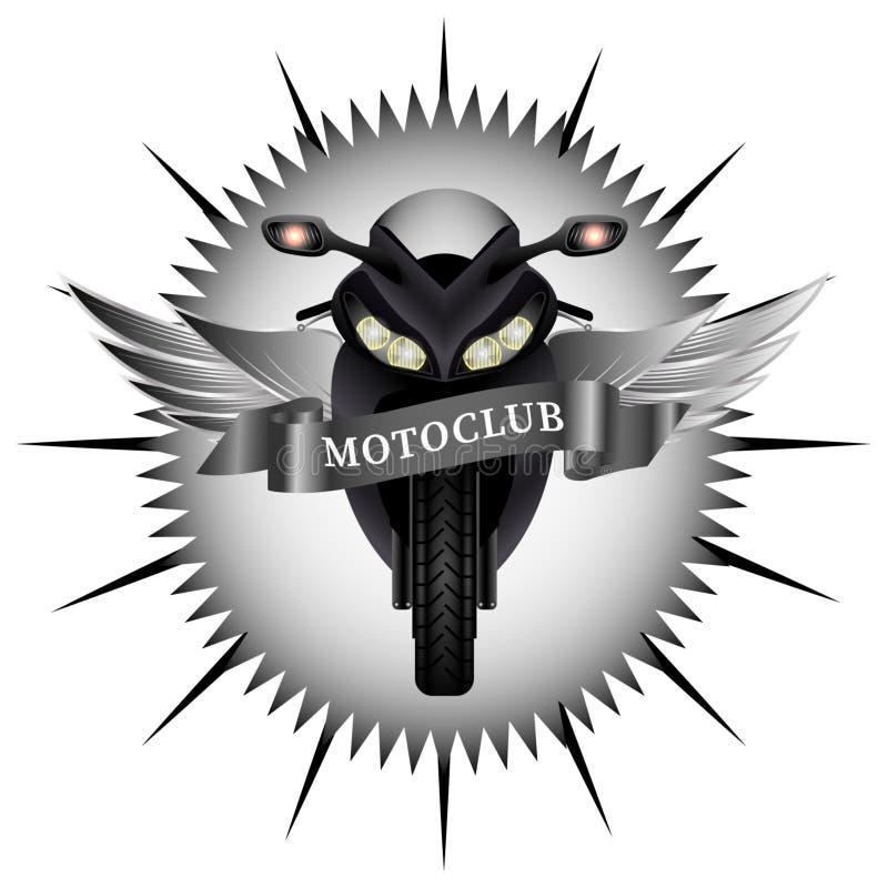Schwarzes motoclub Emblem Radfahrerflecken lizenzfreie abbildung