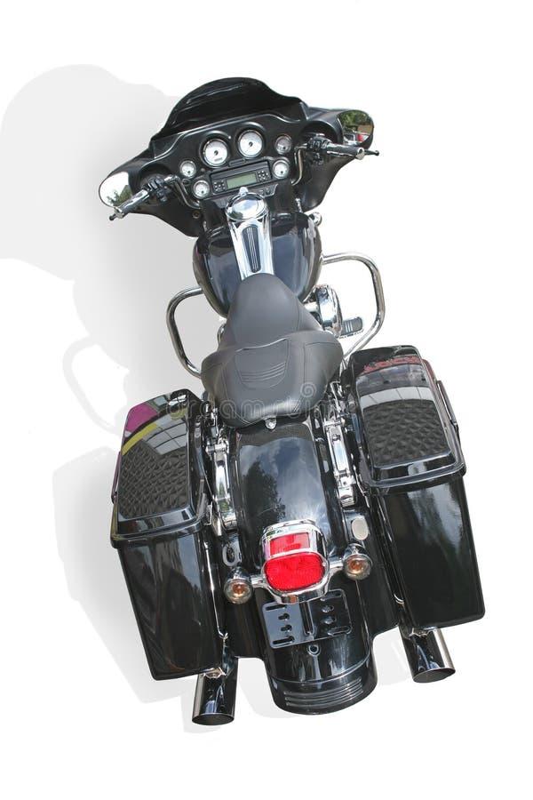 Schwarzes Motorrad auf weißem Hintergrund stockfotografie