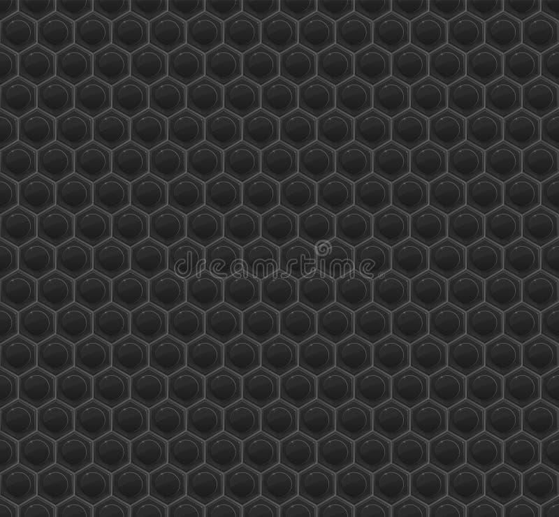Schwarzes Muster-Hexagon-Mosaik lizenzfreie abbildung