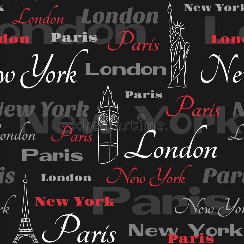 Schwarzes nahtloses Muster mit populären Städten stock abbildung