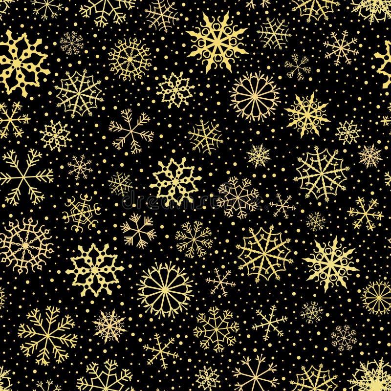 Schwarzes nahtloses Vektormuster mit Goldschneeflocken für Winter und Weihnachtsdekor stock abbildung