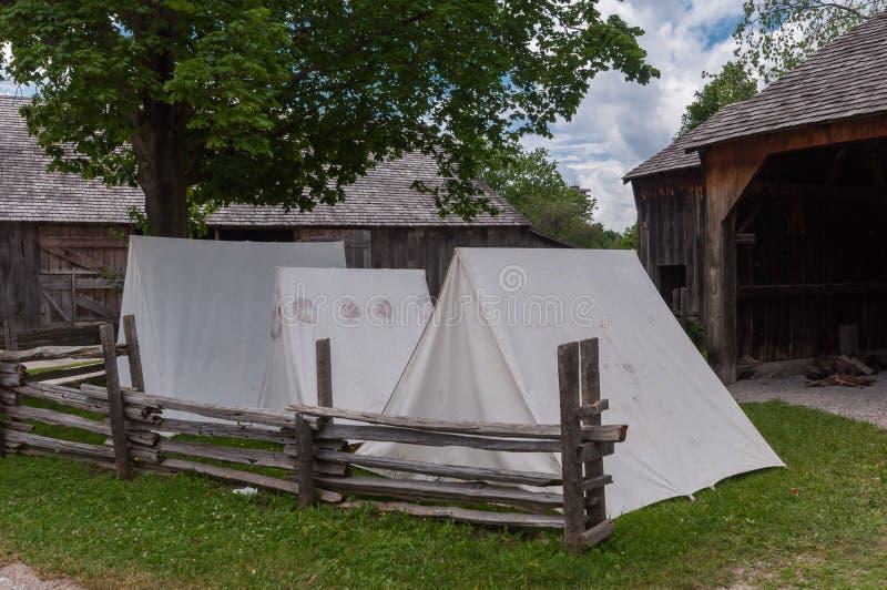 Schwarzes Nebenfluss-Pionier-Dorfgebäude lizenzfreies stockfoto
