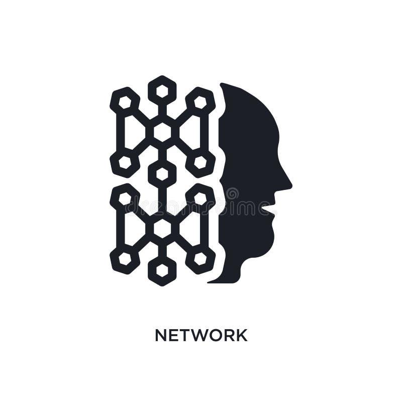 schwarzes Netz lokalisierte Vektorikone einfache Elementillustration von den Konzeptvektorikonen der künstlichen Intelligenz netz vektor abbildung