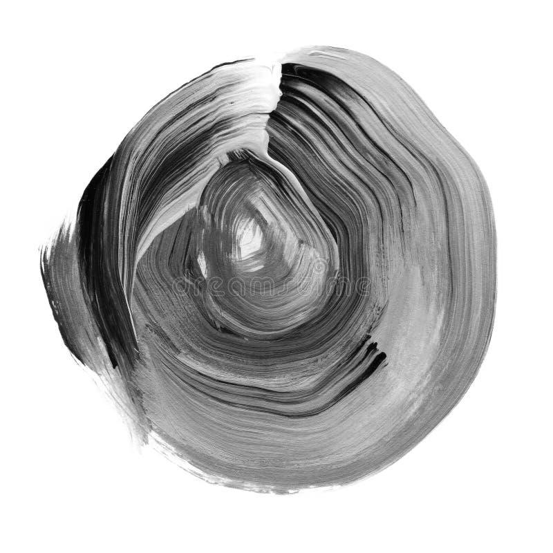 Schwarzes, neutraler grauer strukturierter Acrylkreis Watercolourfleck auf weißem Hintergrund stock abbildung