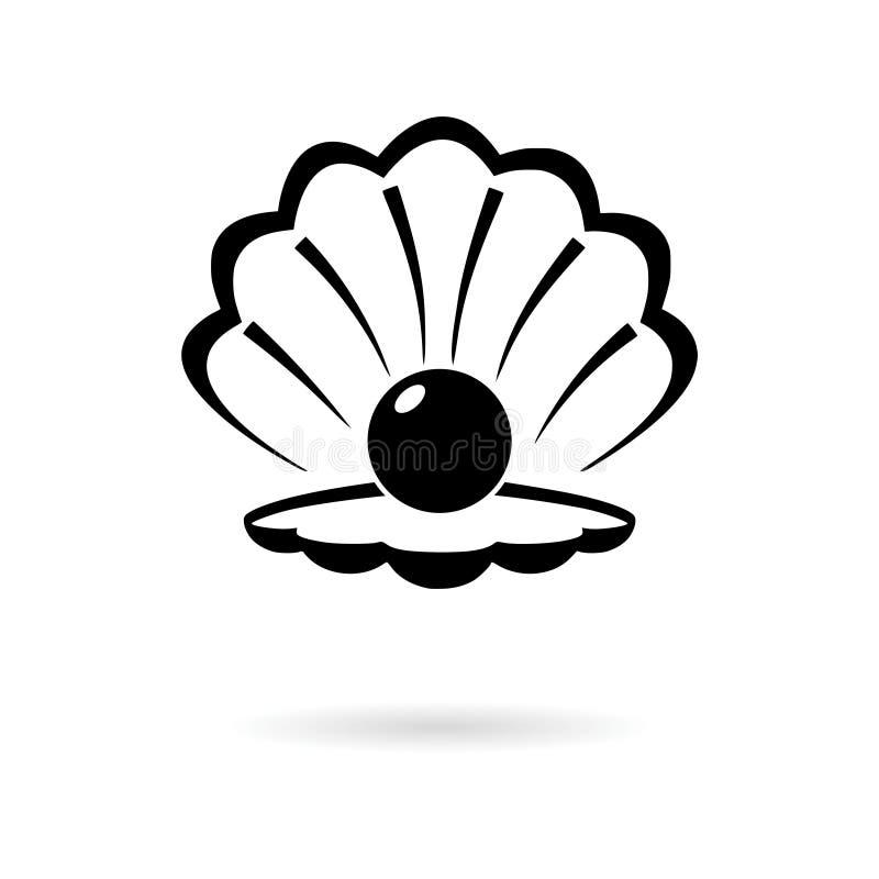 Schwarzes offenes Oberteil mit einer Perlenikone oder -logo stock abbildung