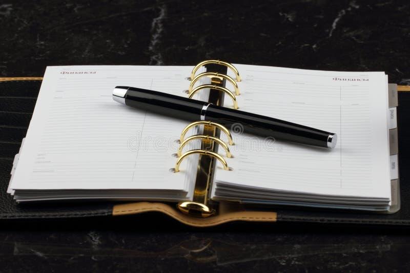 Schwarzes offenes Tagebuch und Füllfederhalter stockbilder