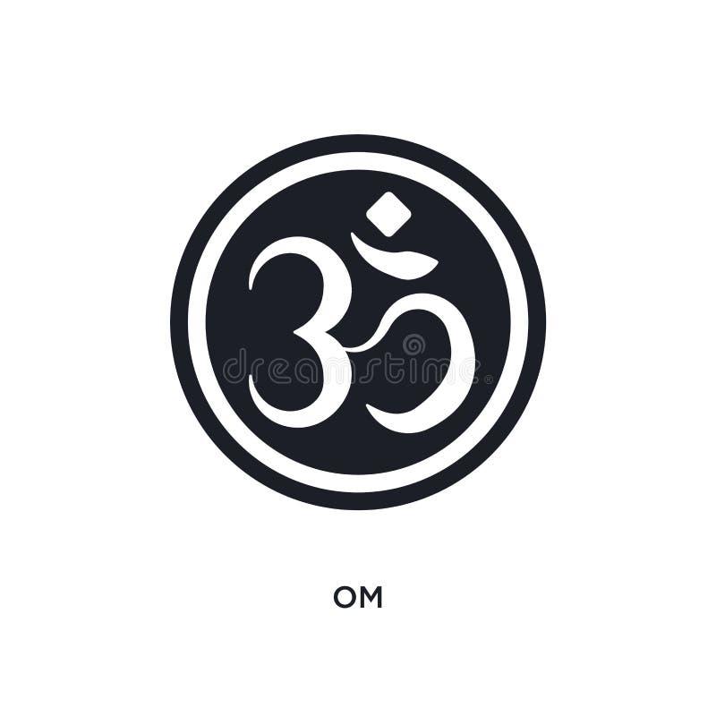 schwarzes OM lokalisierte Vektorikone einfache Elementillustration von den Religionskonzept-Vektorikonen Logo-Symbolentwurf OM ed lizenzfreie abbildung