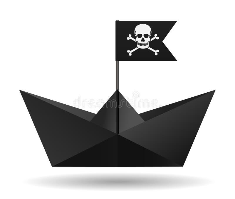 Schwarzes Papierboot mit einer Piratenflagge Weißer Hintergrund Lokalisierter Gegenstand Regenbogen und Wolke auf dem blauen Himm stock abbildung