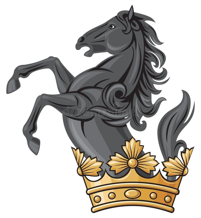 Schwarzes Pferd und Krone stock abbildung