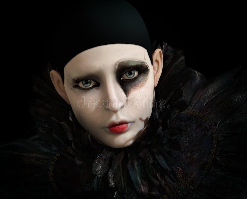 Schwarzes Pierrot, 3d CG vektor abbildung