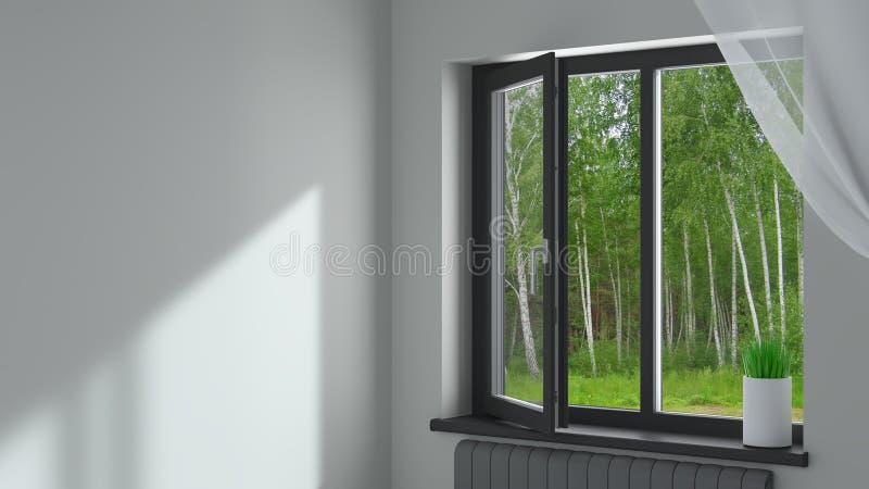 Schwarzes Plastikfenster im Raum lizenzfreie stockbilder