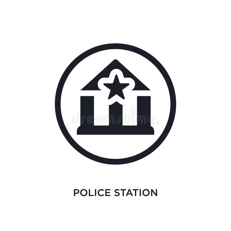 schwarzes Polizeirevier lokalisierte Vektorikone einfache Elementillustration von den Verkehrsschilderkonzept-Vektorikonen Polize stock abbildung