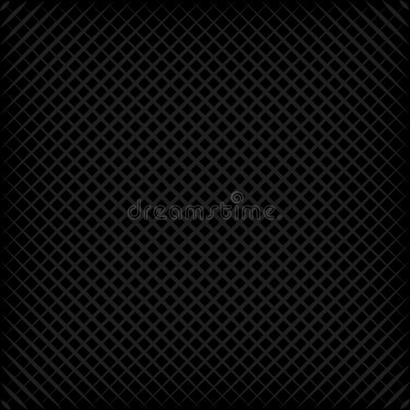 Schwarzes quadratisches graues Gitter, Schrägstreifen, Oblatenmuster des Vektoreffektes 3D, diagonales Gitter stock abbildung