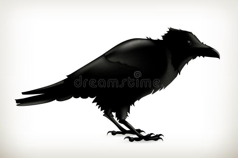 Schwarzes Rabenschattenbild lizenzfreie abbildung