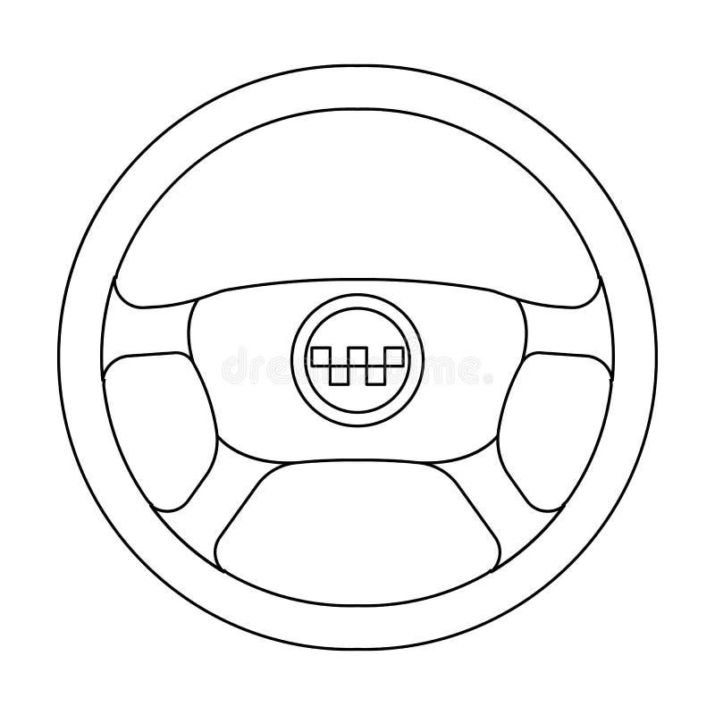 Schwarzes Rad mit gelbem Emblem des Taxis Das Element, zum des Taxiautos zu steuern Einzelne Ikone der Taxistation in der Entwurf stock abbildung