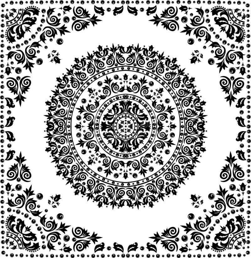 Schwarzes rundes Muster im Feld stock abbildung