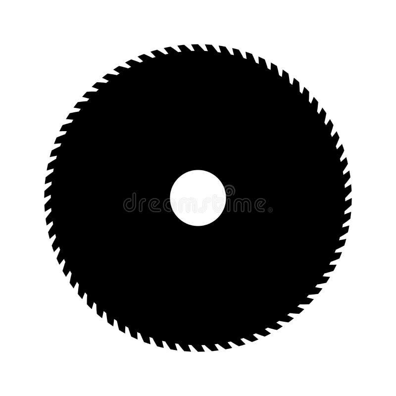 Schwarzes Rundschreiben sah Vektorzeichen oder -ikone Symbol der Sägemühle lizenzfreie abbildung