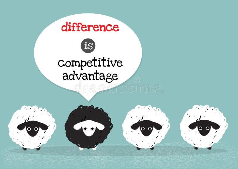 Schwarzes Schaf ist Wettbewerbsvorteil vektor abbildung