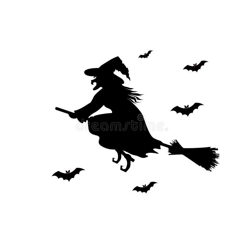 Schwarzes Schattenbild der Hexe auf Besenstiel lizenzfreie abbildung
