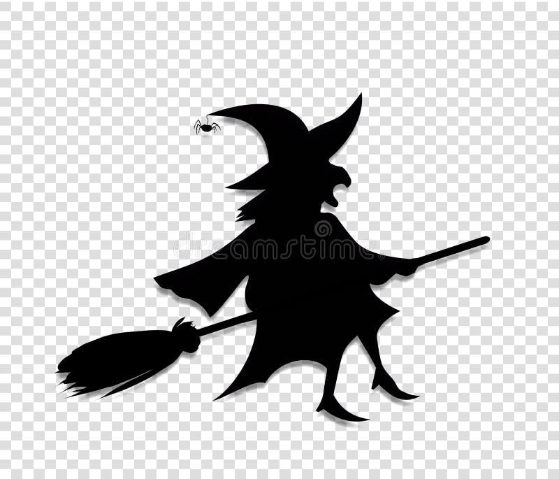 Schwarzes Schattenbild der Hexenfliege auf Besenstiel auf transparentem Hintergrund vektor abbildung