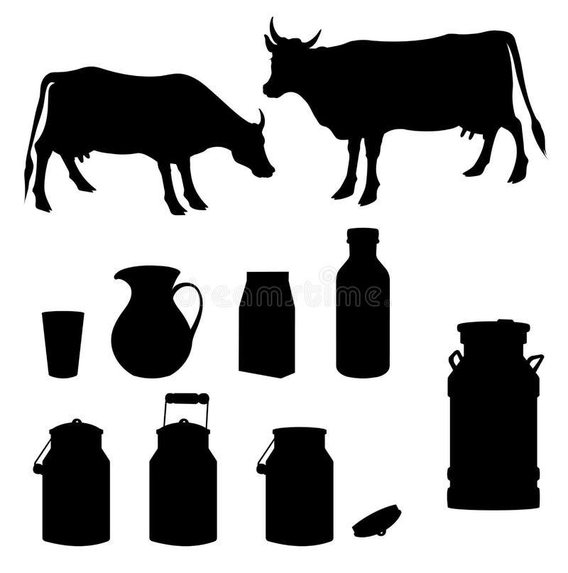 Schwarzes Schattenbild der Kuh und der Milch lizenzfreie abbildung