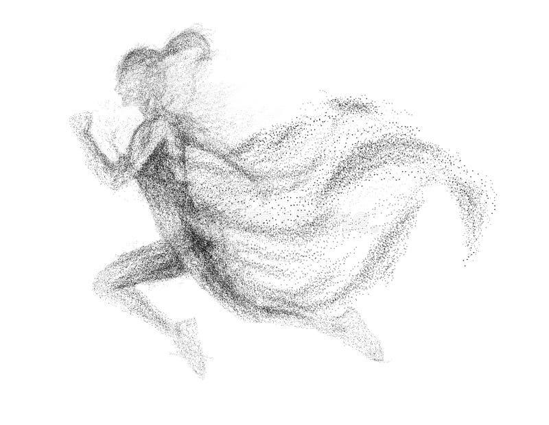Schwarzes Schattenbild der laufenden Frau vom Partikel unterschiedlich lizenzfreie abbildung