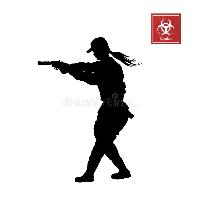 Schwarzes Schattenbild der Polizistin mit Gewehr Mädchensicherheit Zombietireur Charakter für Computerspiel stock abbildung