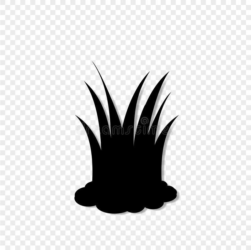Schwarzes Schattenbild der Rasengrasikone, Vektor illustrationon transparenter Hintergrund vektor abbildung