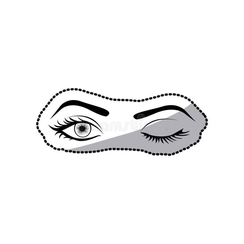schwarzes Schattenbild des Aufklebers, welches die Augen der Frau blinzelt vektor abbildung