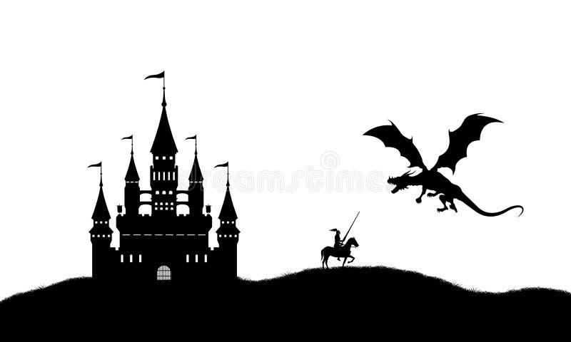 Schwarzes Schattenbild des Drachen und des Ritters auf weißem Hintergrund Landschaft mit Schloss Fantasiekampf lizenzfreie abbildung