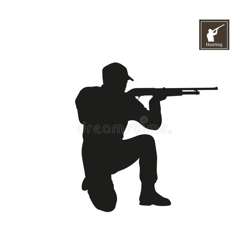 Schwarzes Schattenbild des Jägers auf weißem Hintergrund Ikone des Jagdmannes Tireur mit Gewehr vektor abbildung