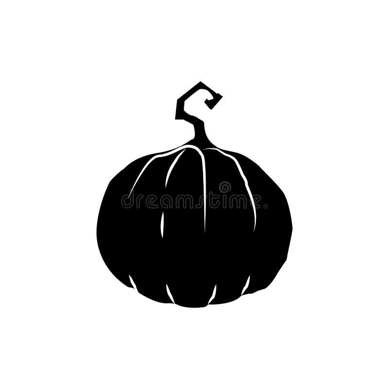 Schwarzes Schattenbild des Kürbises lokalisiert auf weißem Hintergrund Vektor lizenzfreie abbildung