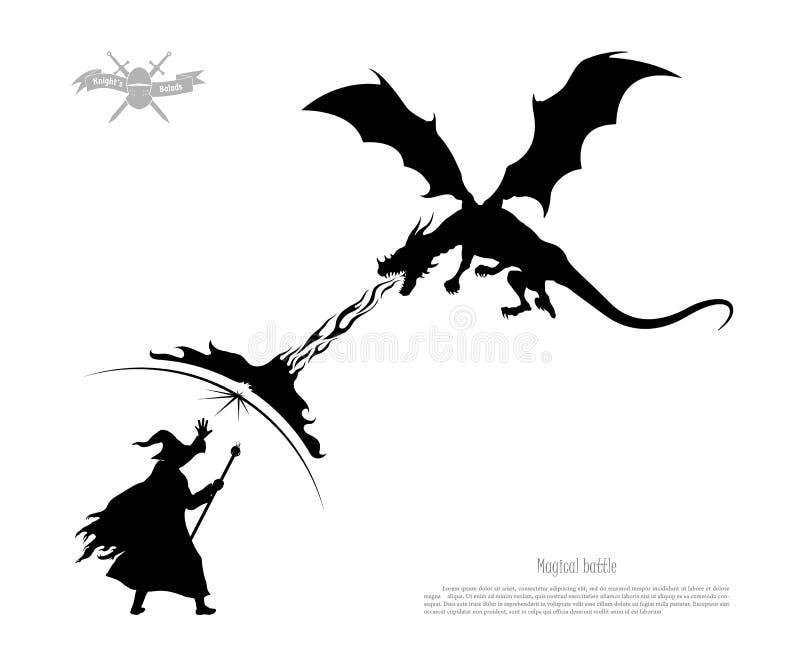 Schwarzes Schattenbild des Kampfes des Zauberers mit Drachen auf weißem Hintergrund Das Monster atmet Feuer auf dem Magier stock abbildung