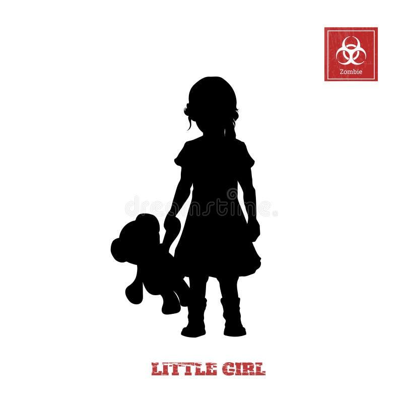Schwarzes Schattenbild des kleinen Mädchens auf weißem Hintergrund Charakter für Computerspiel oder -Thriller lizenzfreie abbildung