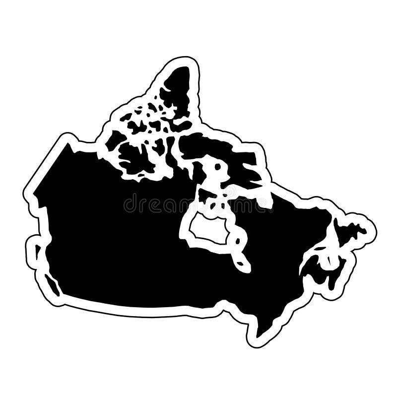 Schwarzes Schattenbild des Landes Kanada mit der Tiefenlinie E-F lizenzfreie abbildung