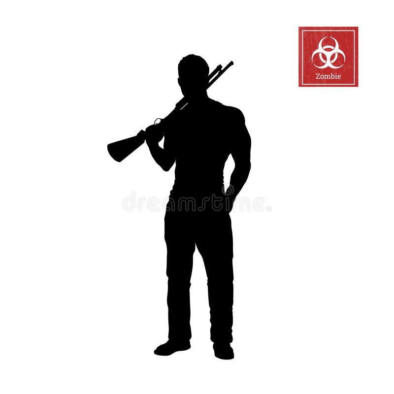 Schwarzes Schattenbild des Mannes mit Schrotflinte auf weißem Hintergrund Zombietireur Charakter für Computerspiel oder -Thriller lizenzfreie abbildung