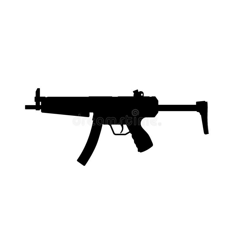 Schwarzes Schattenbild des Maschinengewehrs auf weißem Hintergrund Waffen der Polizei und der Armee stock abbildung