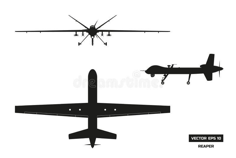Schwarzes Schattenbild des Militärbrummens Spitzen-, vordere und Seitenansicht Armeeflugzeuge für Intelligenz und Angriff vektor abbildung