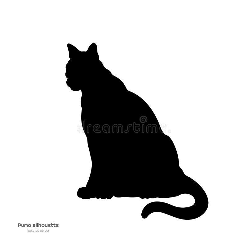 Schwarzes Schattenbild des sitzenden Pumas Lokalisiertes Bild des Pumas auf weißem Hintergrund Tier von Nordamerika lizenzfreie abbildung
