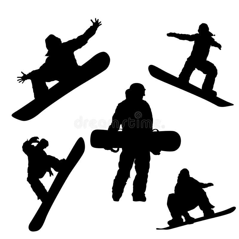 Schwarzes Schattenbild des Snowboarders auf weißem Hintergrund lizenzfreie abbildung