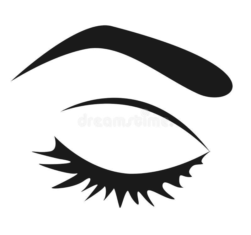 Schwarzes Schattenbild des weiblichen geschlossenen Auges mit den langen Wimpern auf einem w stock abbildung