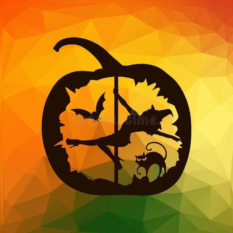 Schwarzes Schattenbild des weiblichen Pfostentänzers schnitzte in Halloween-Kürbis auf geometrischem Dreieckhintergrund der Herbs lizenzfreie abbildung