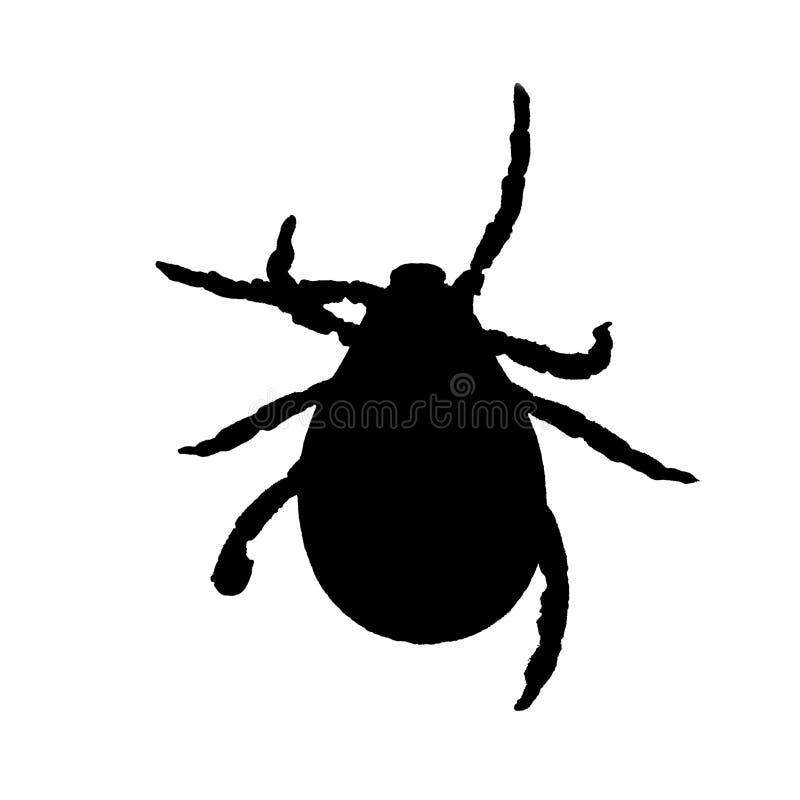 Schwarzes Schattenbild einer Milbe lokalisiert auf einem Weiß lizenzfreies stockfoto
