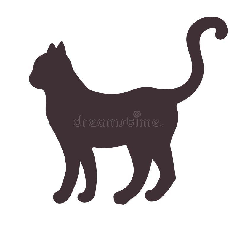 Schwarzes Schattenbild einer Stellung, gehende Katze lokalisiert auf weißem Hintergrund lizenzfreie abbildung