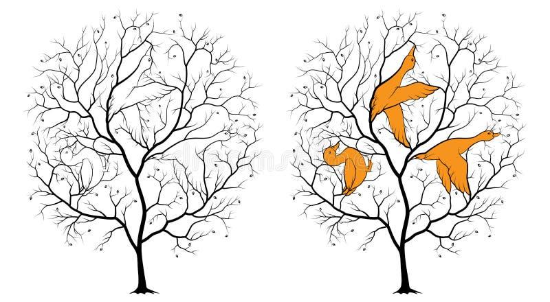 Schwarzes Schattenbild eines Baums auf einem weißen Hintergrund, unter den Niederlassungen sind versteckte Konturen von drei Ente lizenzfreie abbildung