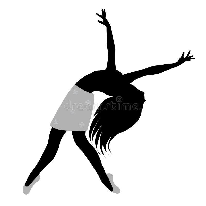 Schwarzes Schattenbild eines Frauentanzens lizenzfreie stockfotografie